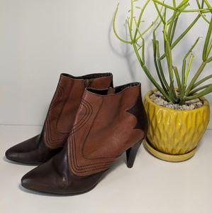 "Reba ""Blaze"" Two Tone Western Ankle Boot"